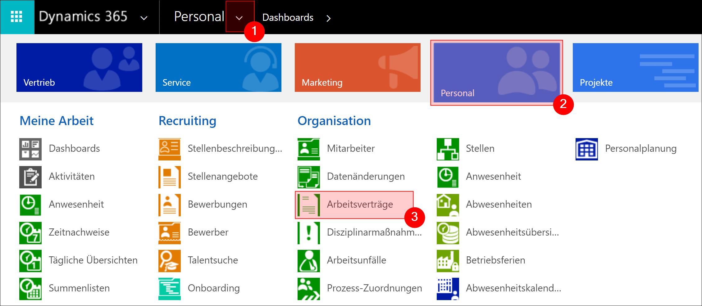 Arbeitsverträge - Personalverwaltung - Dynamics HR Management