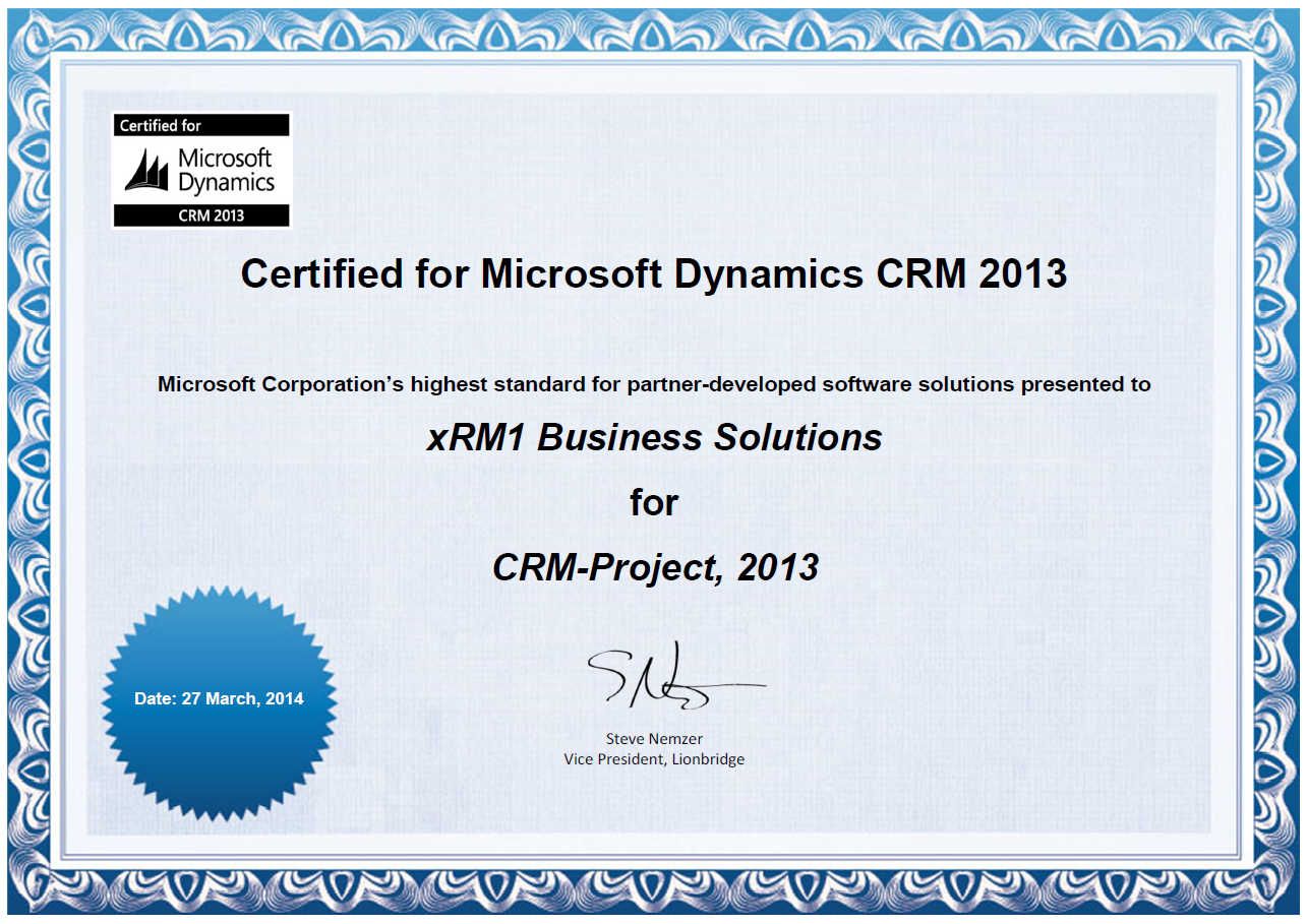 Xrm1 Certificates And Awards